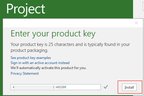 product key to activate outlook 2016